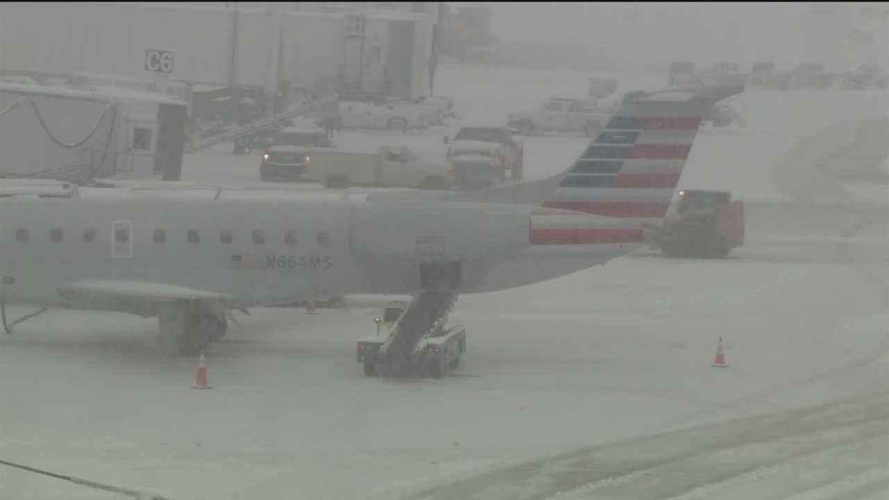 Thursday's snowstorm kept plows busy at Baltimore Washington International Thurgood Marshall Airport and caused lots of delays and cancellations. George Lettis has more.