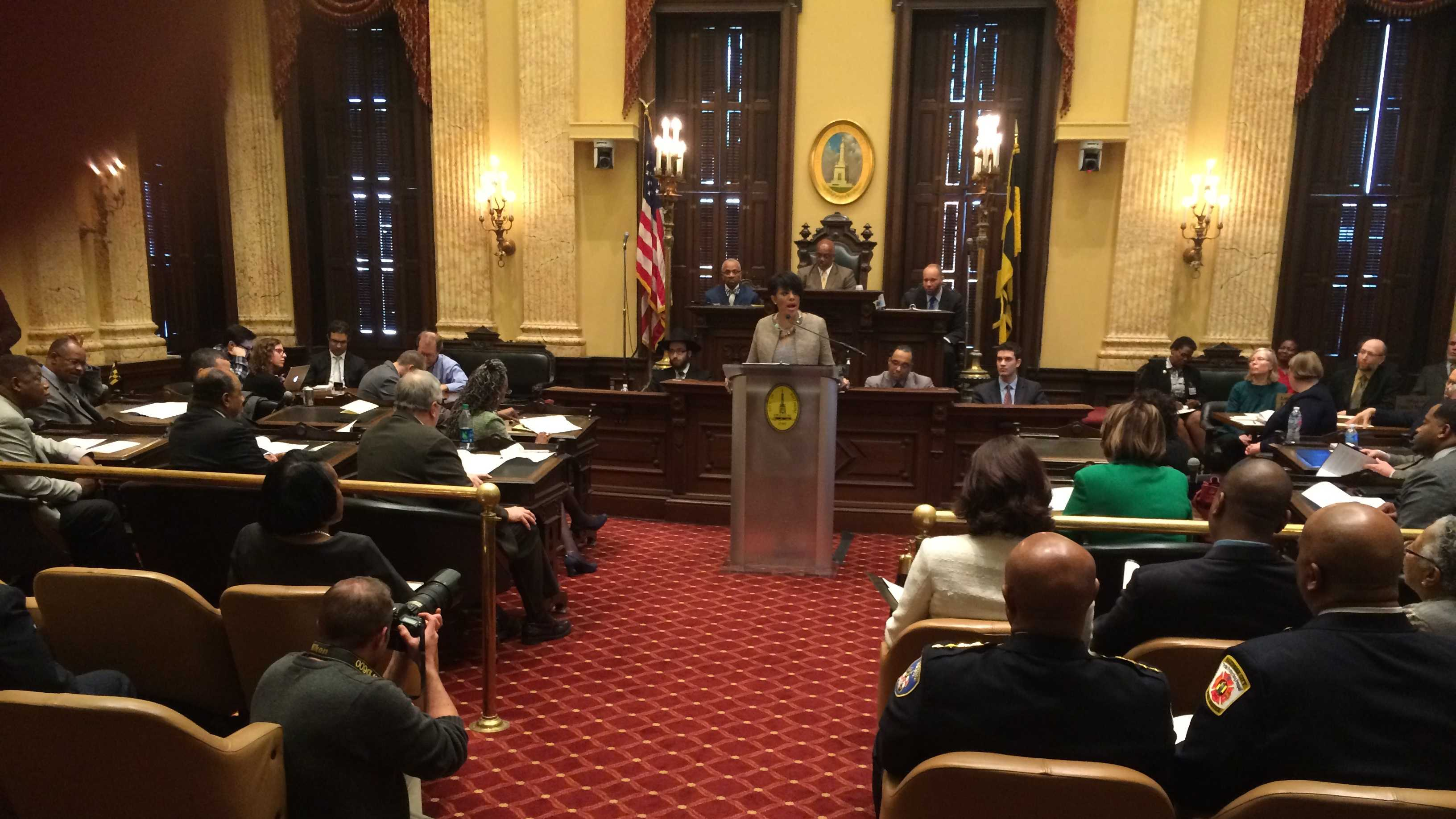 Baltmore Mayor Stephanie Rawlings-Blake delivers her State of the City address