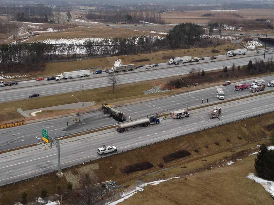 An overturned tanker is leaking some sort of substance onto Interstate 95 in Prince George's County, causing all lanes of the highway to be shut down.