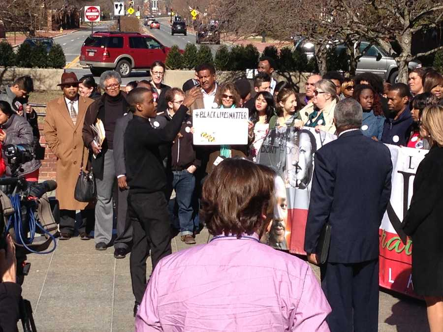 March 12: Several people rally in Annapolis for police reform.