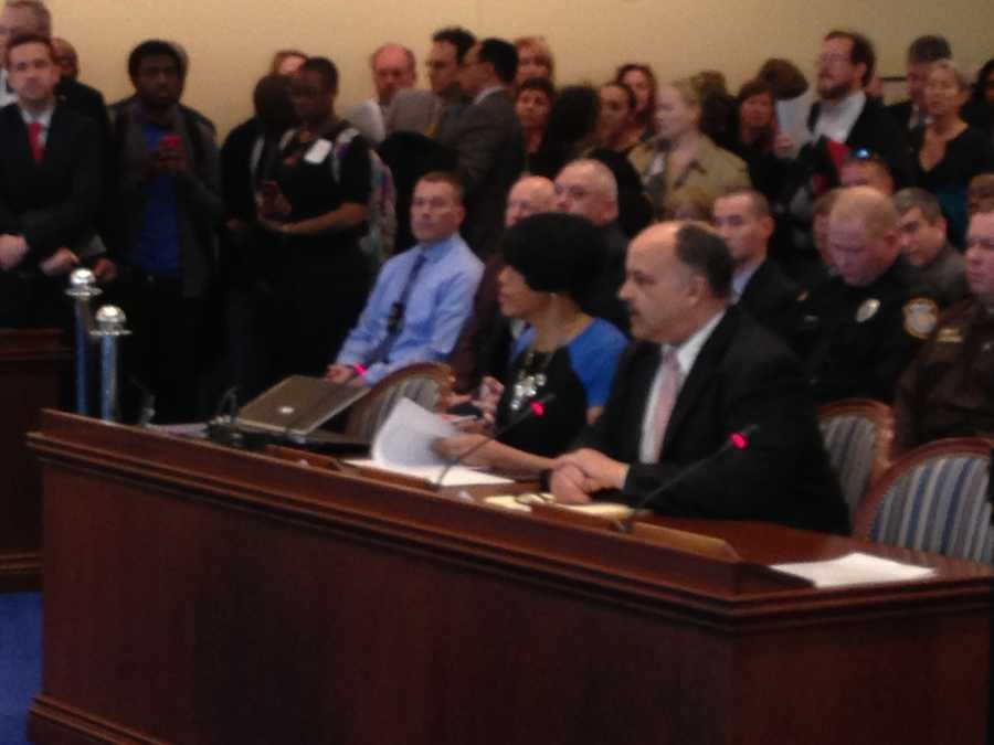 Baltimore Mayor Stephanie Rawlings-Blake and Delegate Curt Anderson testify during a judiciary committee police accountability hearing.