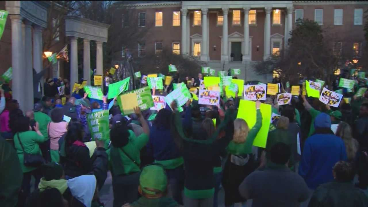 State workers rally in support of a plan a House committee cobbled together to save pay raises and education funding.