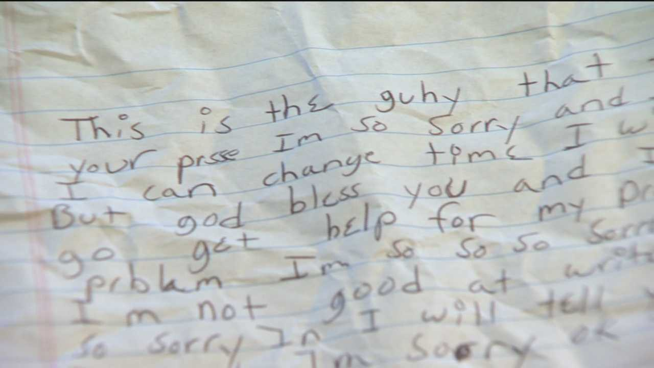 A woman robbed outside a pizza shop in Brooklyn Park receives a letter of apology from her alleged attacker.