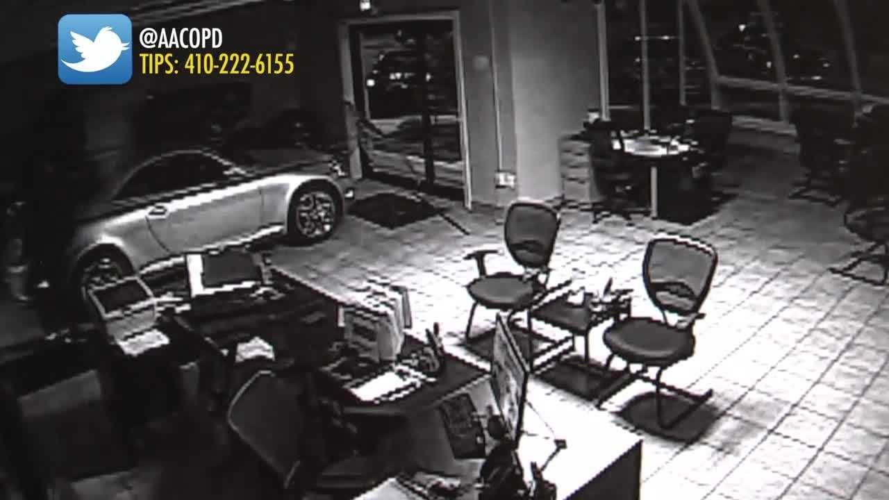 Anne Arundel County police are looking for two men who were caught on camera breaking into a car dealership in Gambrills.