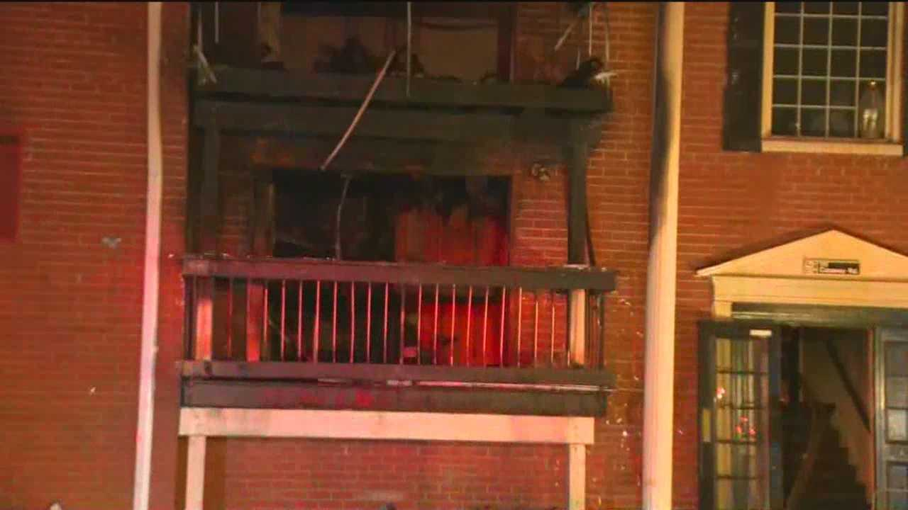 A late-night two-alarm fire burns apartments in Reisterstown.