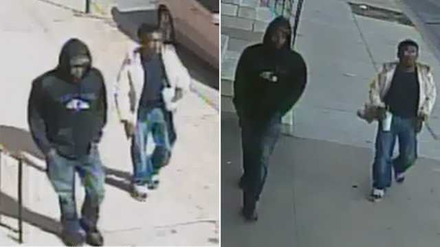 Baltimore police release two photos of persons of interest wanted in connection with the shootings of five people on West Lanvale Street.