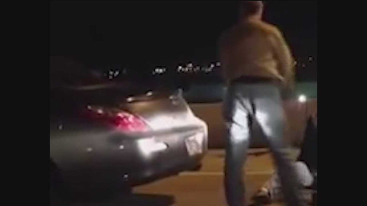 Video shows a driver starting to get aggressive with a truck driver in a fight on Interstate 95.