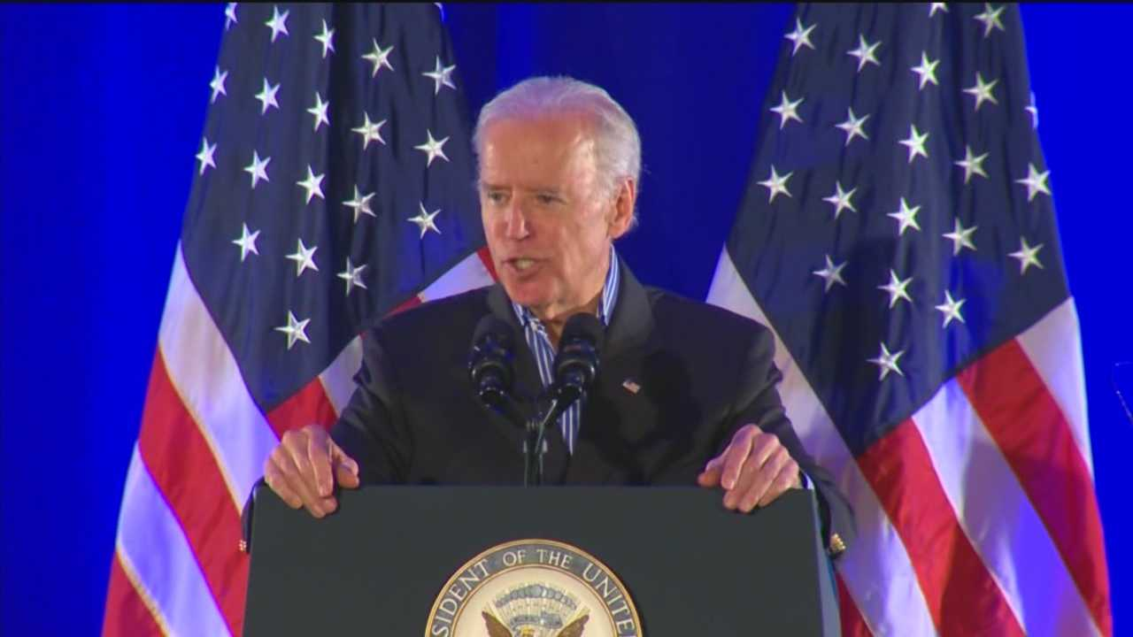 Speaking in Maryland, Vice President Joe Biden urges moderate Democrats to support a new approach to policies he said are designed to measure whether trade is appropriate with another country.