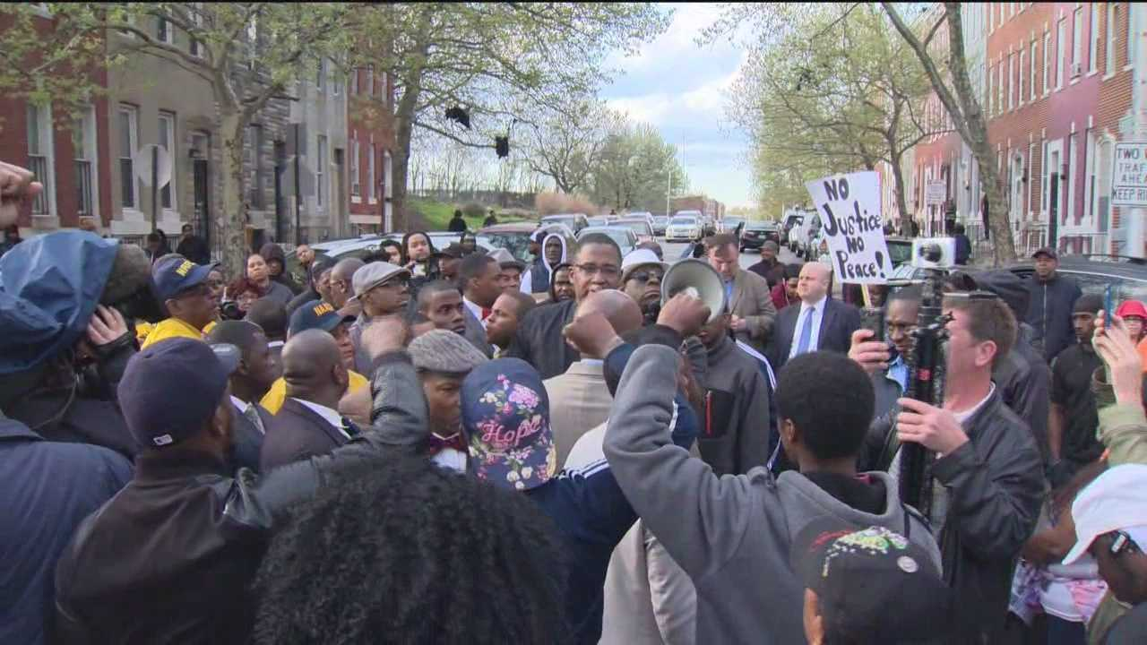 Emotions run high at protests held in memory of Freddie Gray in Baltimore.