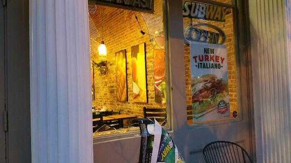 Window broken at Subway restaurant