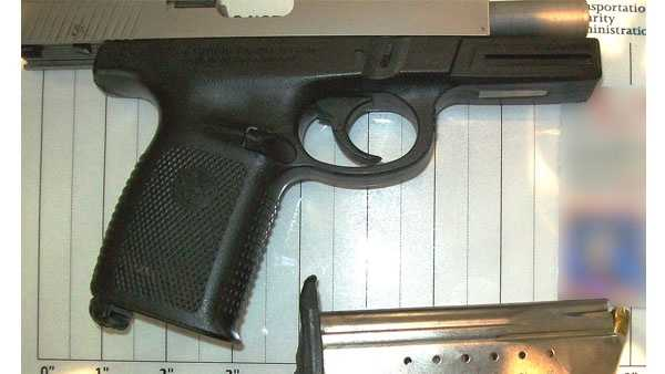 TSA officers detected this 9mm handgun in a passengers carry-on bag at BWI Airport on Friday.
