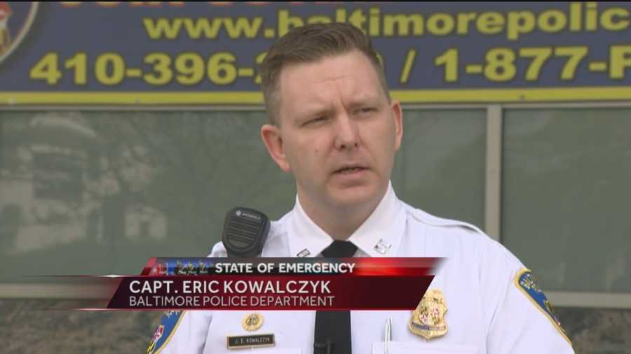 Baltimore City Police Capt. Eric Kowalczyk updated the media on the latest events in the city, including the number of officers injured and the authorities plan to keep the peace.