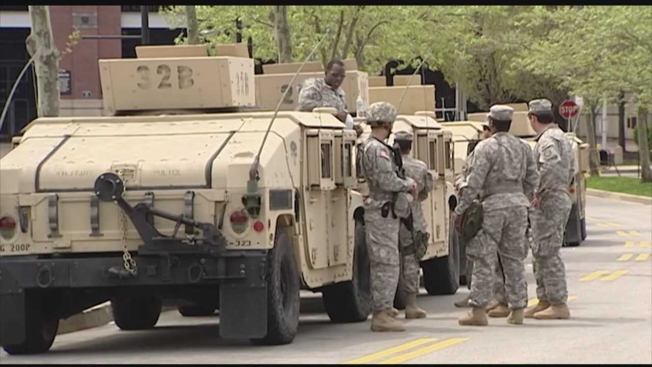 The Maryland National Guard have been boots on the ground in Baltimore City for the last 48 hours. Their ominous presence both surreal and reassuring for locals, who watched Monday's protests hijacked by violence.