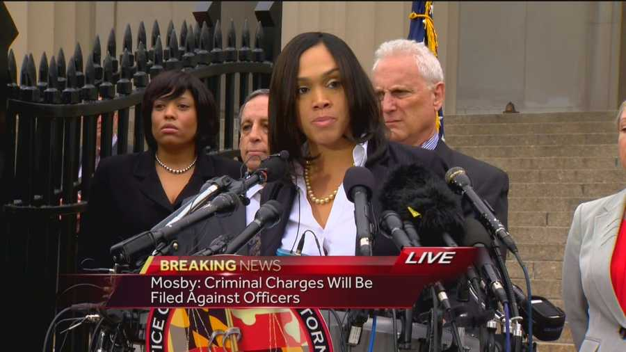 Baltimore City State's Attorney Marilyn Mosby announces charges are filed against the six city police officers suspended in the Freddie Gray case.