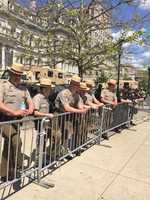 Law enforcement lined up at City Hall to await the marchers.