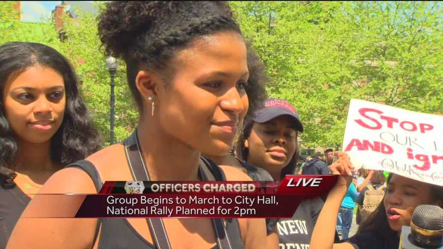 Grace, the daughter of WBAL-TV 11 News' Lisa Robinson, speaks about why she is in downtown Baltimore and what the rally means to her age group.