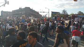 Protesters flooded the intersection of Pennsylvania and North. Traffic was blocked.