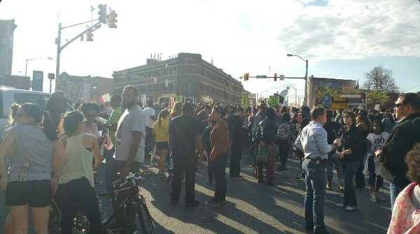 Protesters gathered in the street at Penn and North.
