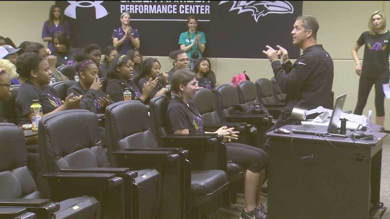 The Ravens may be in their off-season, but they spent the day hosting a group of female student athletes at their training facility in Owings Mills.