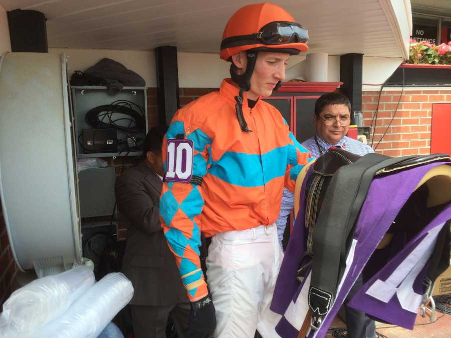 Trevor McCarthy wins the first race of Black-Eyed Susan Day. He is riding in the Preakness on his 21st birthday.