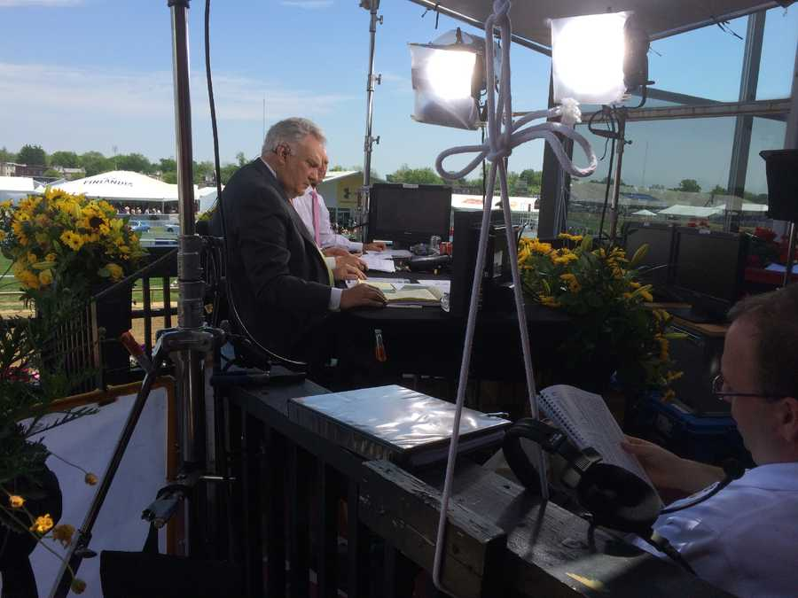 Tom Hammond and the NBC crew prepare for Preakness coverage that will be telecast on WBAL-TV 11.