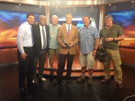 Rod with the crew during the 6 p.m. newscast