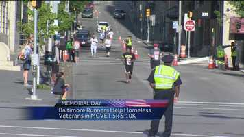 Hundreds of runners participated in the 20th annual MCVET 5K and 10K in downtown Baltimore Sunday benefiting homeless vets.