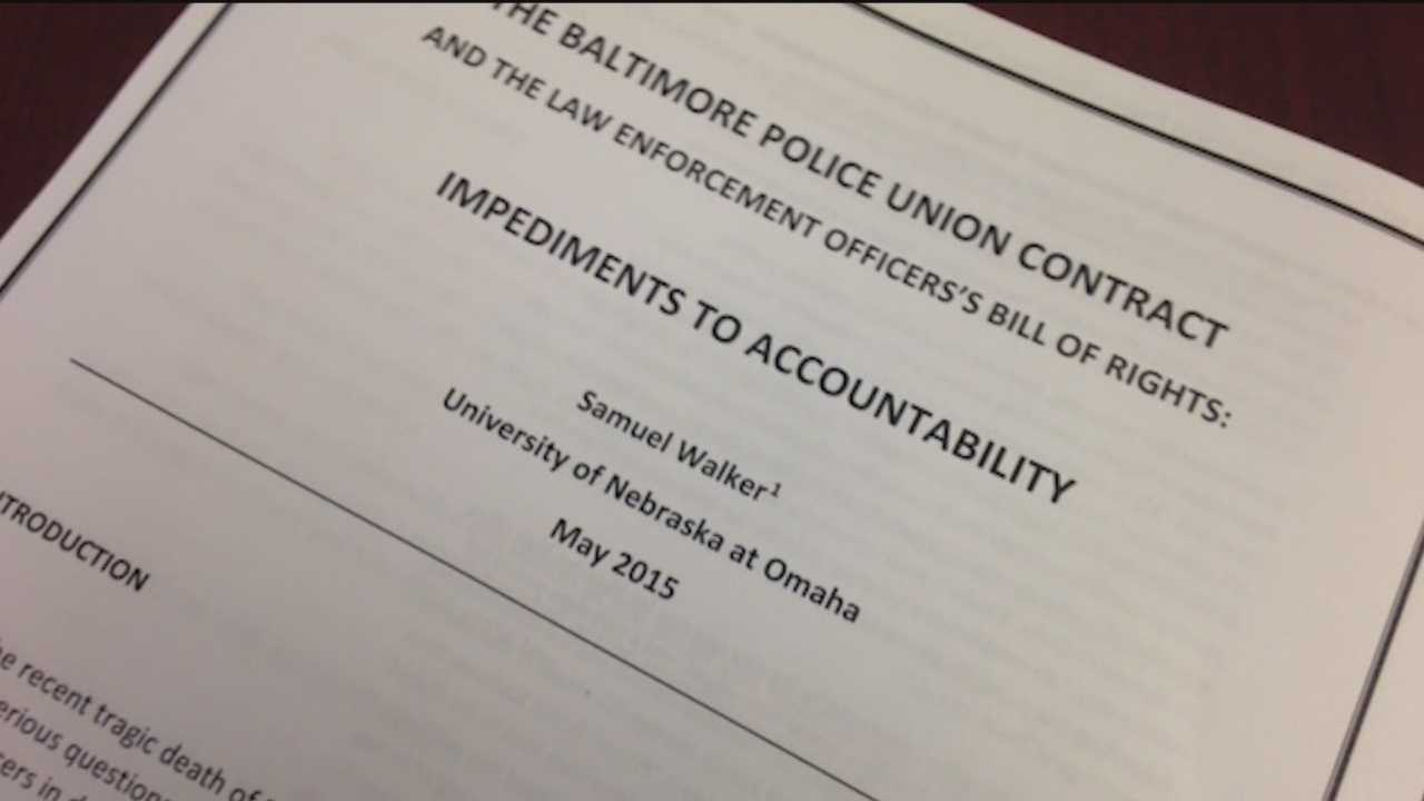 The University of Nebraska on Wednesday published a scathing review of the Baltimore City police union contract and the Maryland Law Enforcement Officers' Bill of Rights.