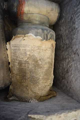 Jar No. 2 – While Still in the Cornerstone – With Declaration of Independence Laid on Top