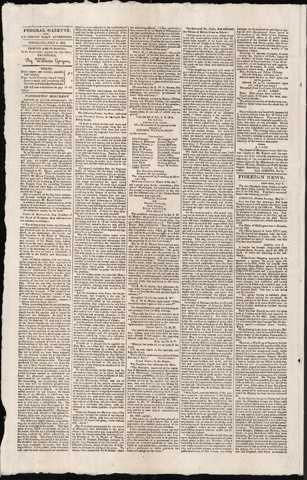 Jar No. 3 – The Federal Gazette from July 6, 1815 – Printing the Cornerstone Ceremony in Full