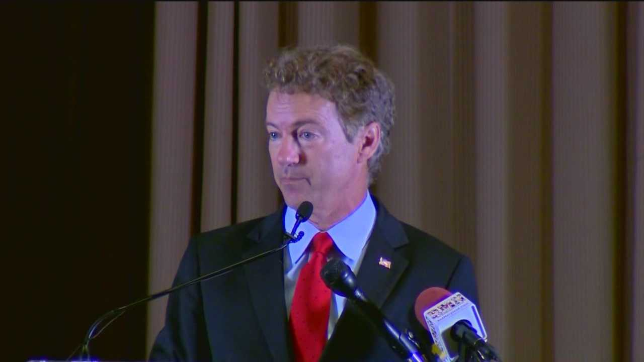 Sen. Rand Paul speaks at the Baltimore County Lincoln Reagan Dinner on his run for president.