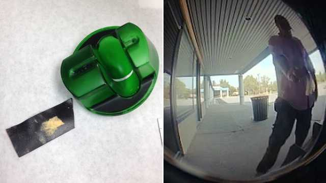 Howard County police confiscate a skimming device (left) placed on an ATM in Columbia, and they're searching for a man seen on surveillance (right).