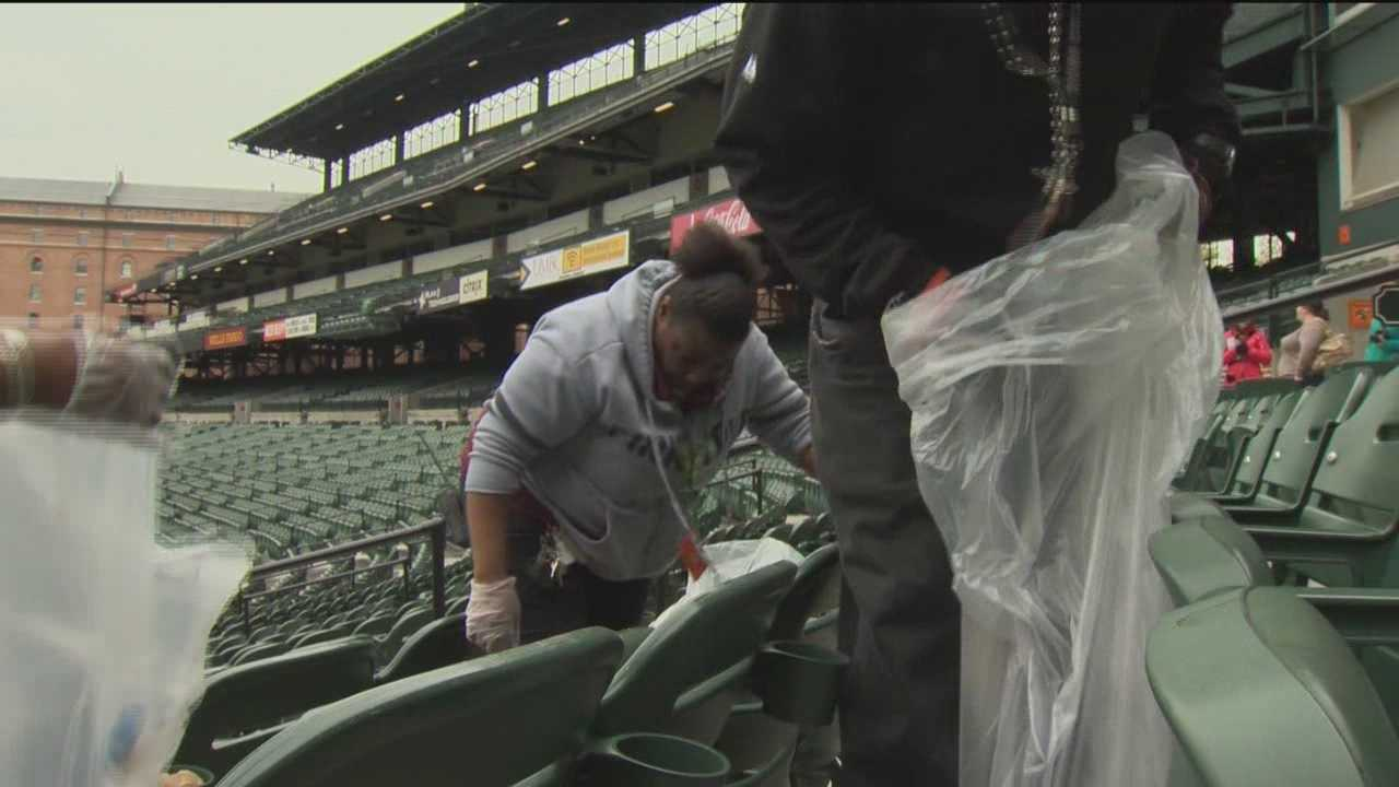 Cleaning up after an Orioles game is a big task. For a sellout crowd, it takes a crew of 150 workers as long as six and a half hours to finish the entire stadium. All of the workers are hired by the organization Chimes.