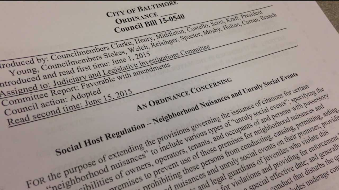 New legislation sets new guidelines on punishment for loud, unruly parties in Baltimore City. The City Council passed a bill Monday that allows police to write $500 ticket for nuisance violations.