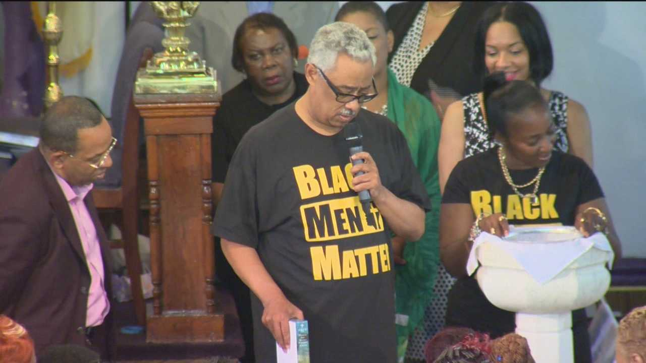 Members of an AME Church in Baltimore paid tribute to the victims in Charleston during Sunday morning services on Sunday.