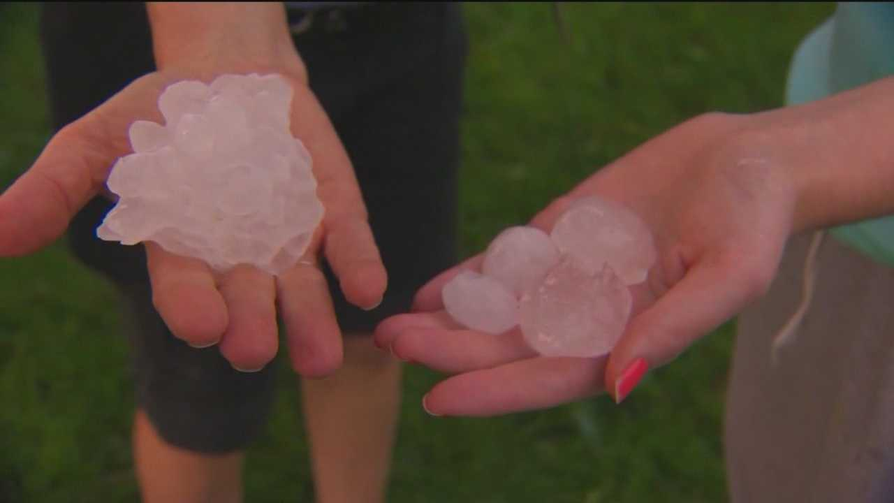 Heavy storms Tuesday night produced hail that fell in a Cockeysville neighborhood.