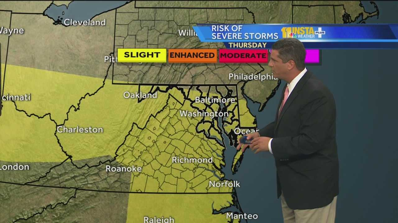Meteorologist Tony Pann shows how there's a chance of showers and severe thunderstorms Thursday afternoon.