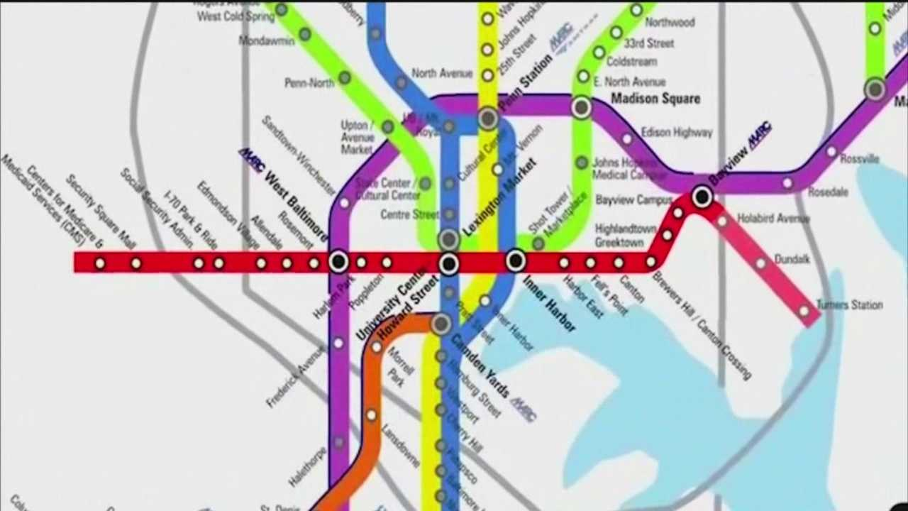 Gov. Larry Hogan made the announcement while revealing plans to spend nearly $2 billion on roads, highways and bridges throughout Maryland. But he said The Red Line light rail project in Baltimore will not proceed as it's currently designed.