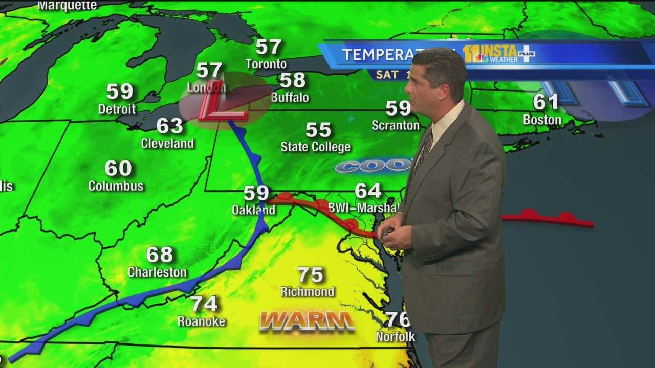 Meteorologist Tony Pann shows how Sunday will bring a mix of sun and clouds with a possible shower in some spots.