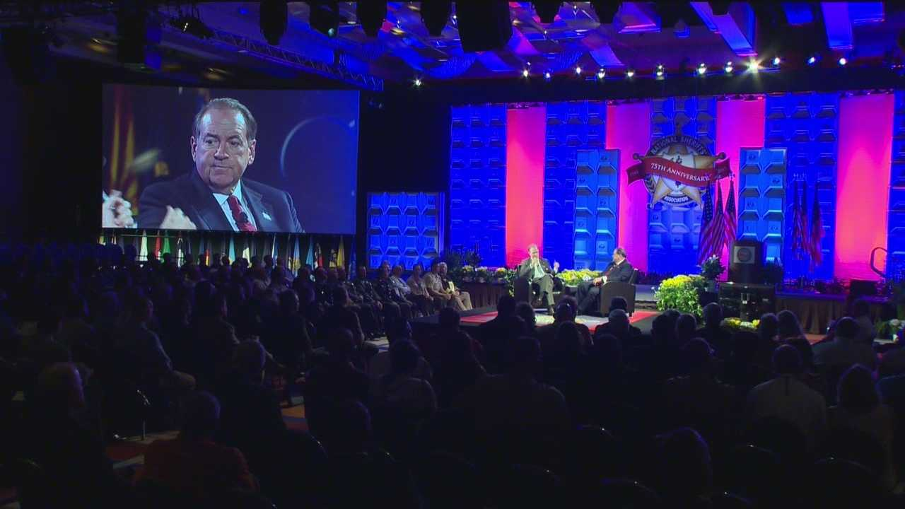 "Calling the April unrest and riots in Baltimore a ""war zone,"" former Gov. Mike Huckabee, a Republican, told the National Sheriffs' Association annual conference at the Baltimore Convention Center that police deserve credit, not criticism."
