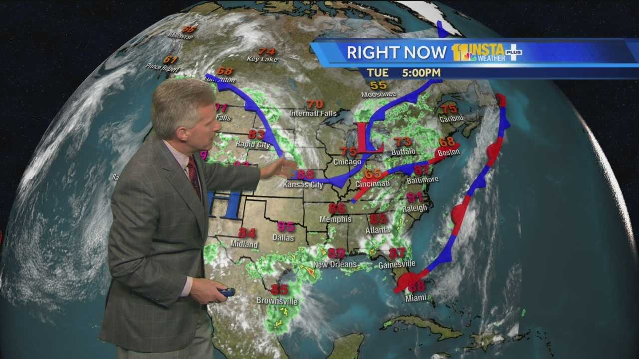 Chief Meteorologist Tom Tasselmyer shows when thunderstorms moving through Maryland will clear out Wednesday.
