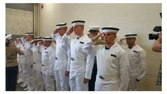 Plebes prepare for life in the Naval Academy on Induction Day 2015 in Annapolis.