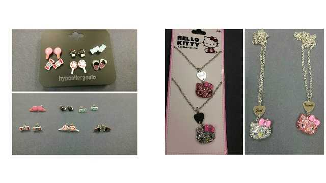 The Baltimore City Health Department cited Five Below and Target for selling children's jewelry with excessive lead levels at their respective Canton locations. The earrings (left) were sold at Five Below while the Hello Kitty set was sold at Target.