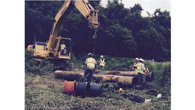 Anne Arundel County public works crews are repairing a water main break near Laurel on July 3, 2015