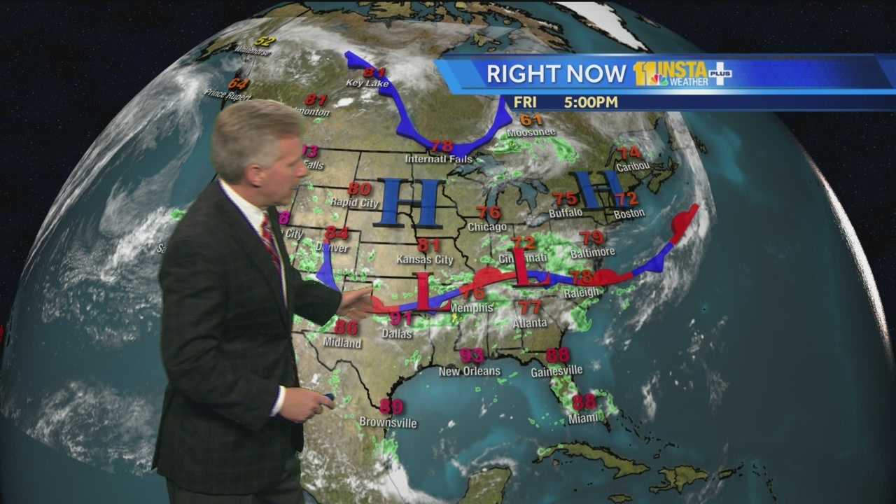 Chief Meteorologist Tom Tasselmyer shows the rain chances for the July Fourth holiday.