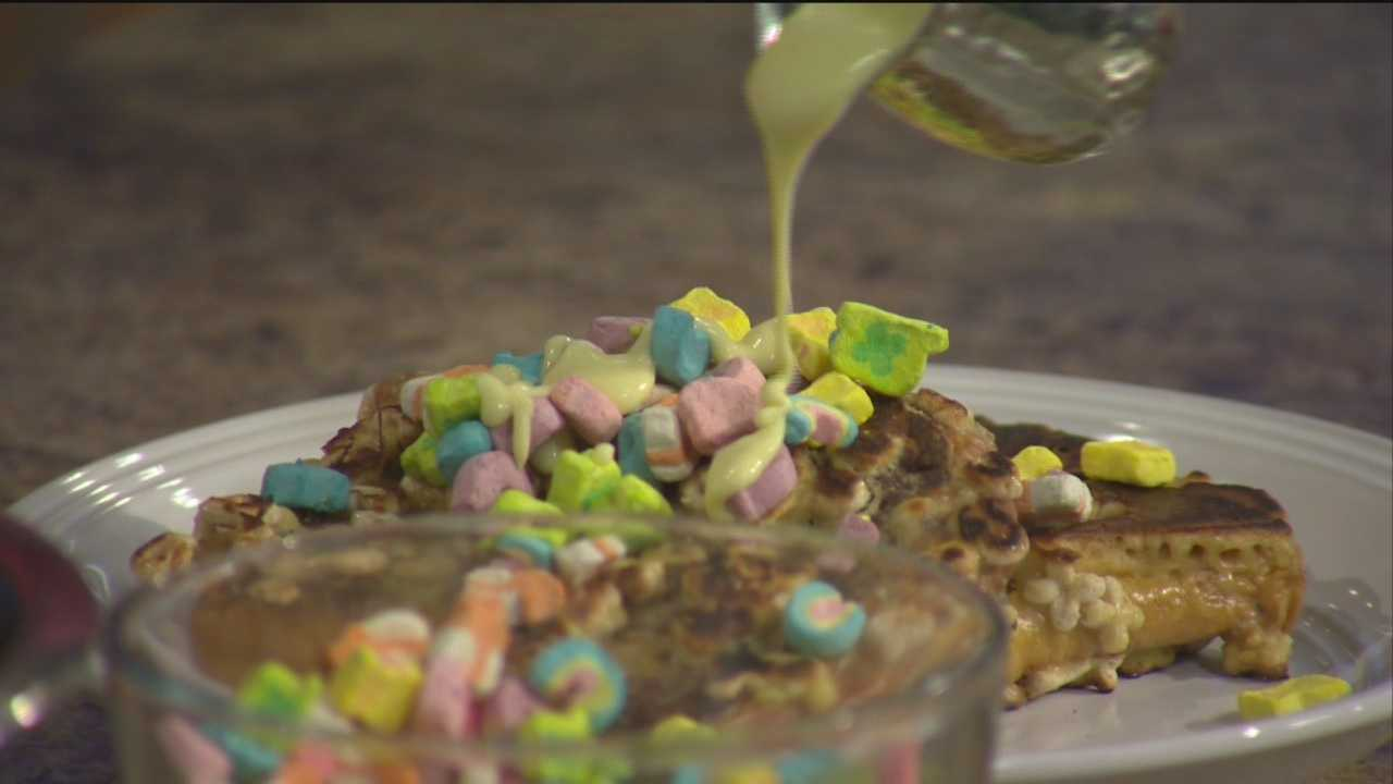Kyle Algaze  from the Iron Rooster shows how to make Lucky Charms french toast.