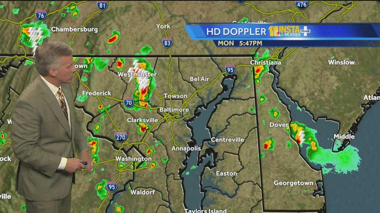 Chief Meteorologist Tom Tasselmyer shows how most areas will stay dry Tuesday, but there's still a chance for scattered storms.