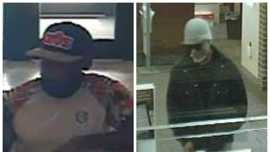 Anne Arundel County police said the person on the left is suspect of robbing a Sandy Spring Bank while the person on the right robbed a Wells Fargo bank. Both banks are located in Linthicum