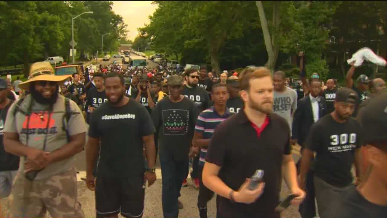 Hundreds participated in the third annual 300 Man March in Baltimore to stand up against violence.