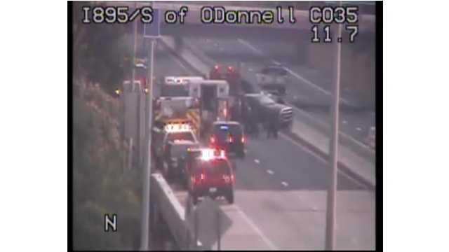 I-895 South was closed at O'Donnell Street following an accident Monday morning.